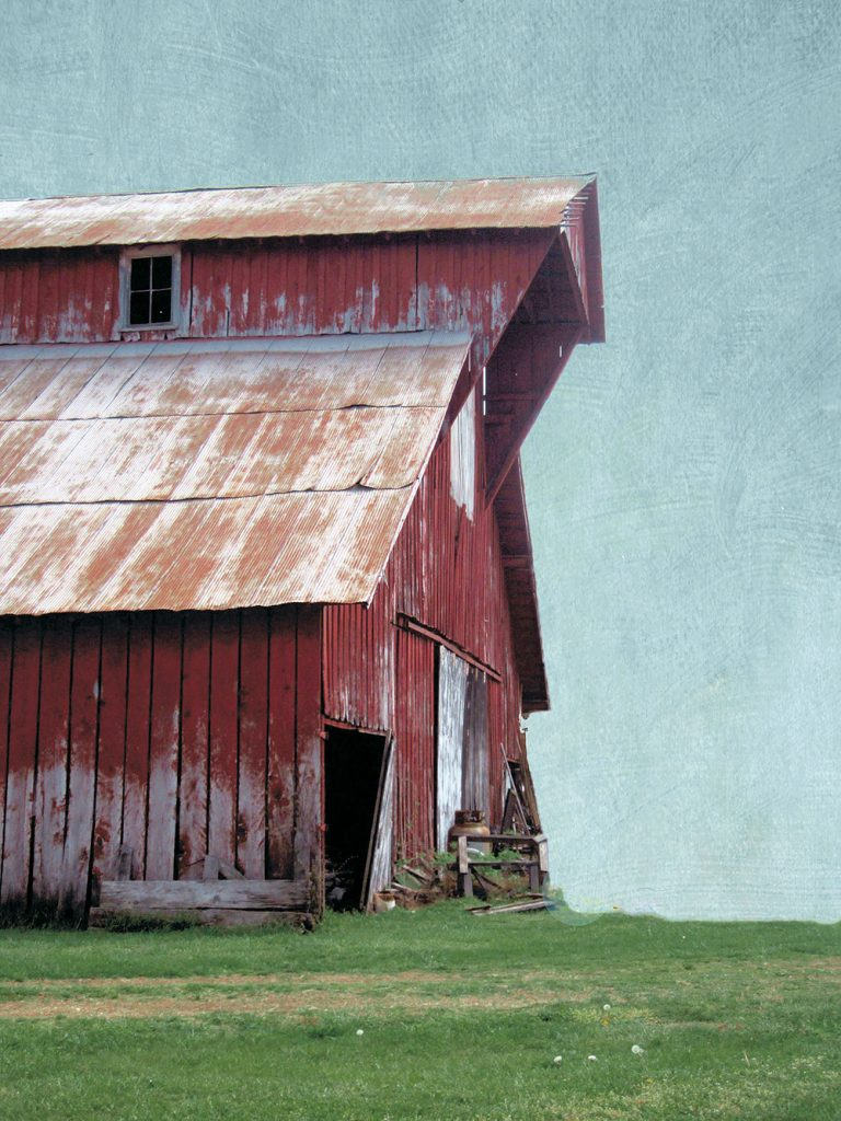 Contemporary Farmhouse art featuring a large red gabled barn with rusty tin roof