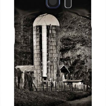 Product, Cellphone Case: Dark Hollow - Black and white image of old barn and grain silo in Tennessee