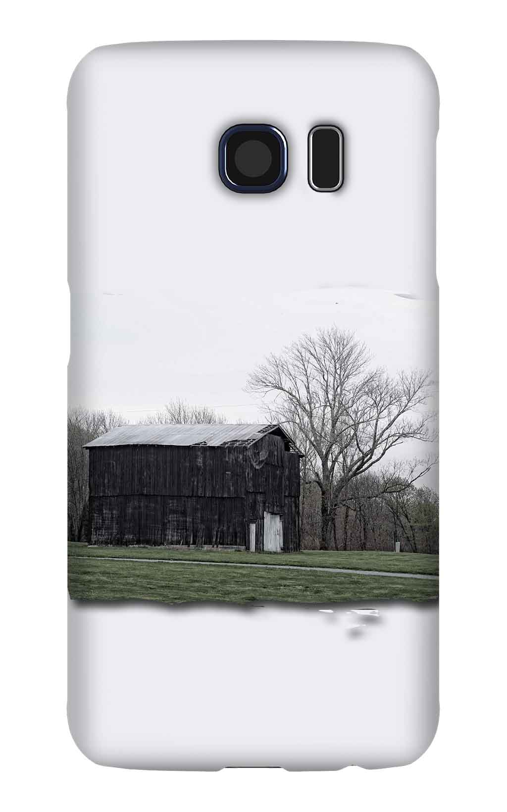 Product, Cellphone Case: Dawn – image of two-story black tobacco barn in Macon County, Tennessee