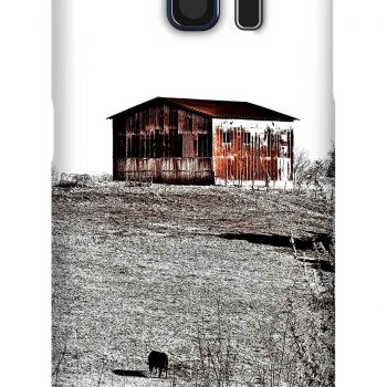 Product, Cellphone Case: The Sentry - Rusty metal barn on a hill and silhouette of cow