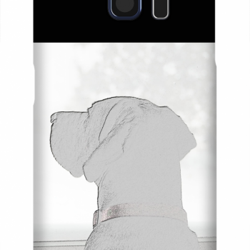 Product, Cellphone Case: Miss You - Reverse black and white silhouette of labrador-dane mix looking out window