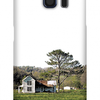 Product, Cellphone Case: Lovely Bones - White farmhouse with rusting roof in field with pine tree