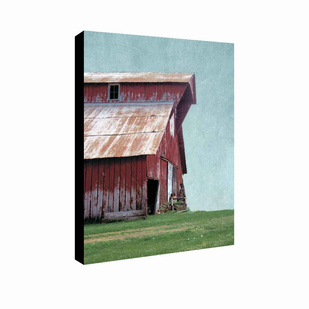 Contemporary canvas farmhouse art featuring red gabled barn with rusty tin roof, Serentiy