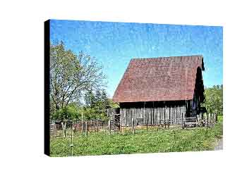 Canvas for home decor featuring country barn with steep roof and blue skies