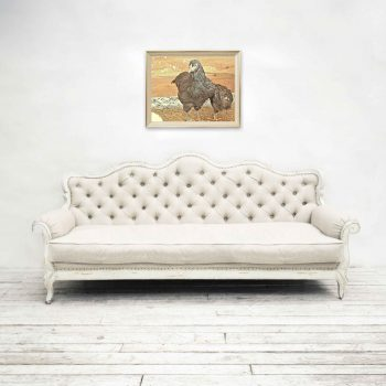 Art featuring two black australorp chickens hung over white couch